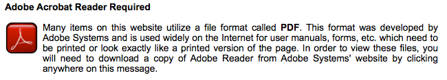 Picture of Adobe banner linking to reader download page