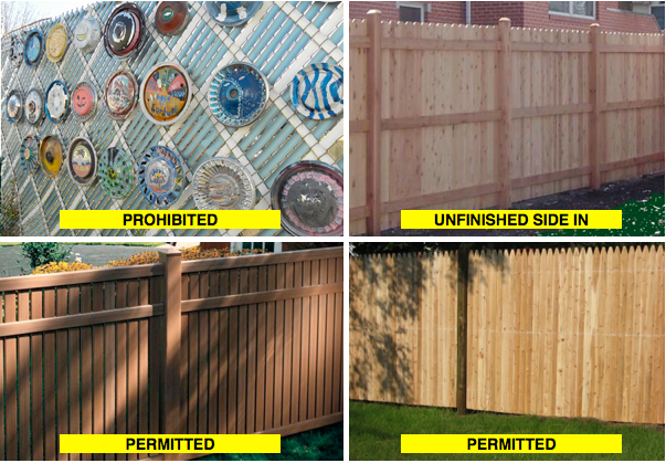 Picture of various fence styles, showing what's permitted and prohibited.