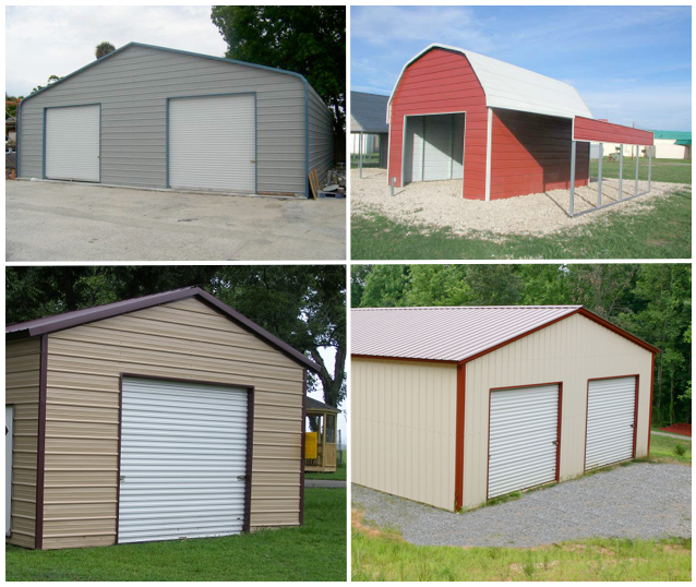 Pictures of various prohibited metal buildings