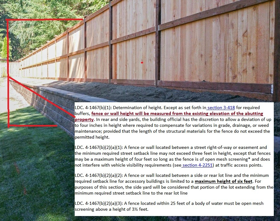Picture of fence adjacent to a retaining wall and how height is measured.