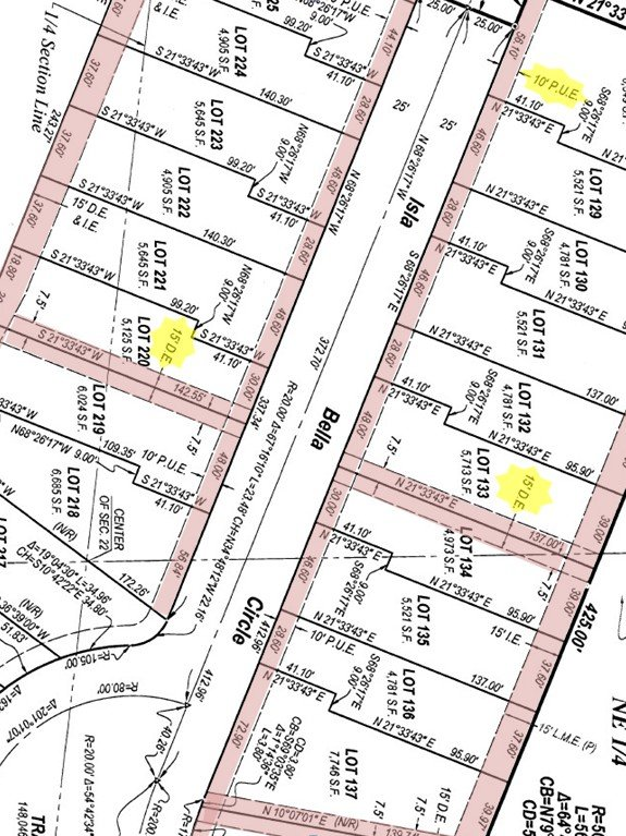 Picture of platted subdivision showing colored easements of varying sizes