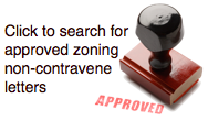 Picture link labeled click to search for approved zoning non-contravene letters