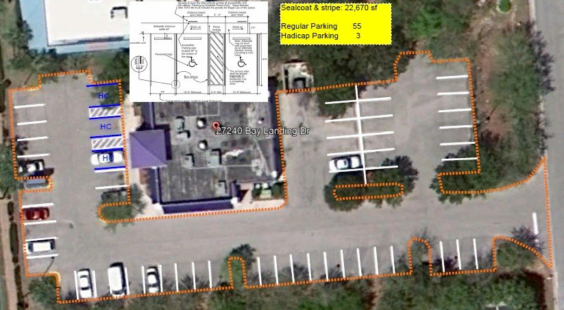 Picture of parking lot aerial view delineating number of parking spaces