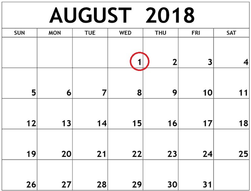month of August 2018 calendar image with first of month circled