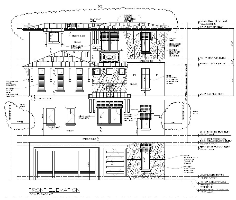Picture of residential front elevation with height and setback measurements. Click opens full sized image.