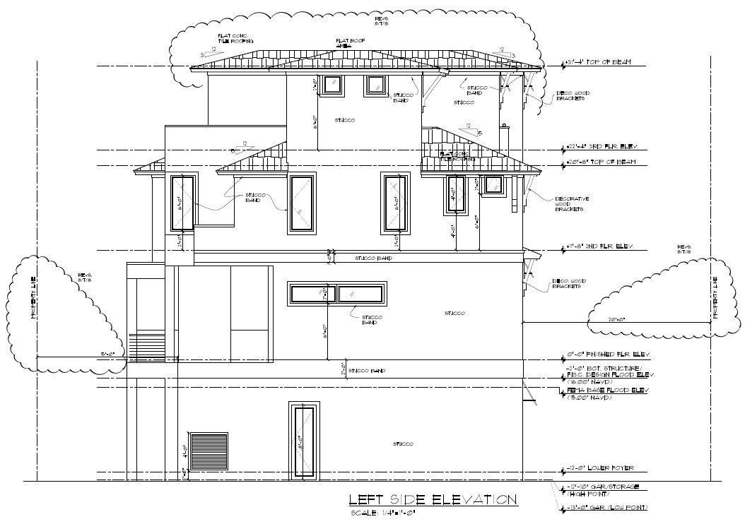 Picture of residential left elevation with height and setback measurements. Click opens full sized image.