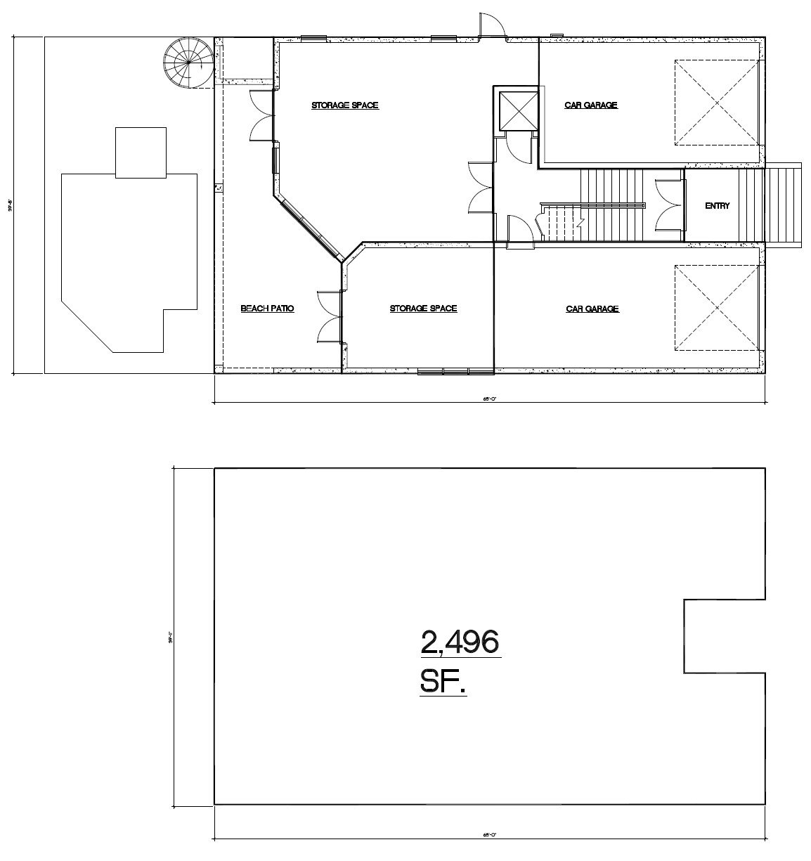 Picture of residential p-line with complete square footage measurements.