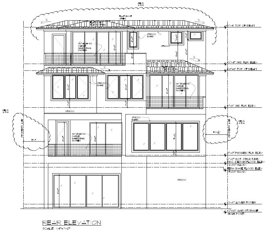 Picture of residential rear elevation with height and setback measurements. Click opens full sized image.