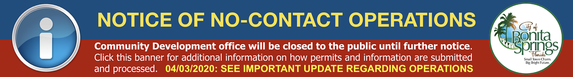Notice of No Contact Operations Banner Image Link